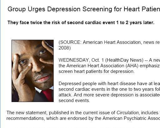 Group Urges Depression Screening for Heart Patients